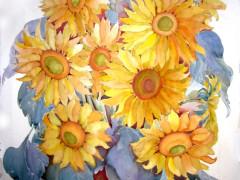 """Sunflowers"",67x102,watercolour,2012"