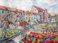 (DE) Schloss_Amberg_Aquarell_64x48cm