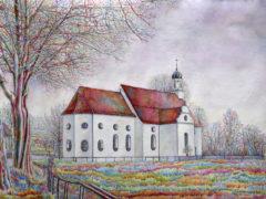 (DE) bayerische_Kirche_Aquarell_70x50vm_2017